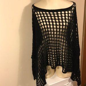 Say What? black knit boho poncho one size